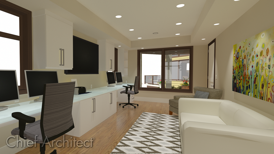 Office with a tray ceiling containing rope and recessed lighting