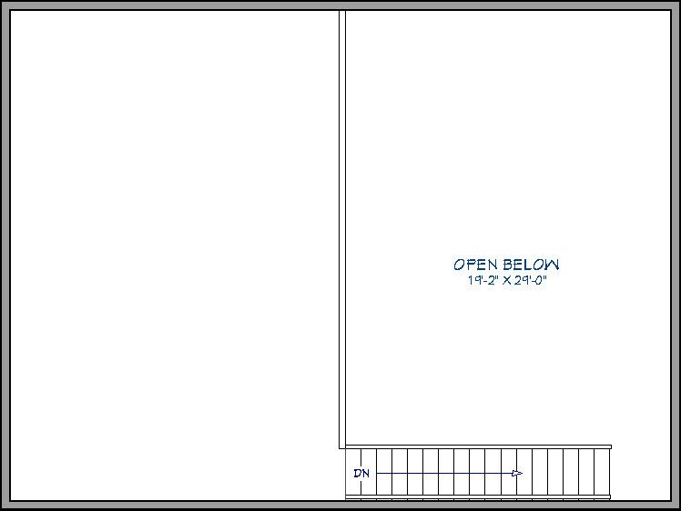 Floor plan view of the open below room