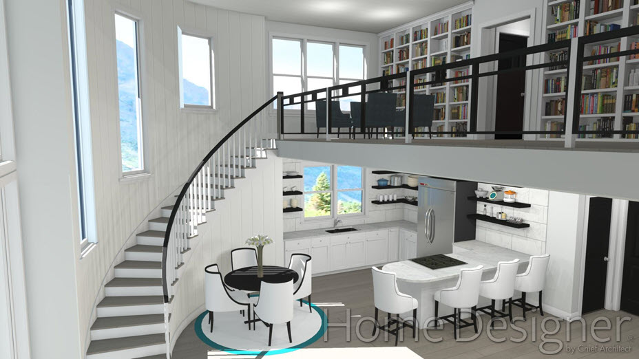 Stairs leading to an open second floor