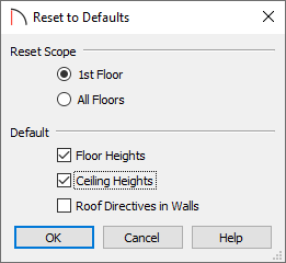 Resete to Defaults dialog