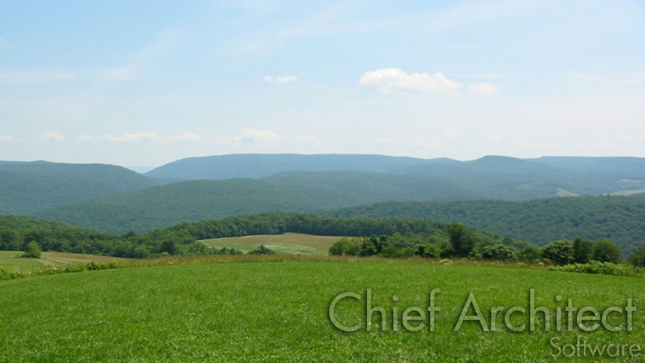 Custom backdrop of rolling hills