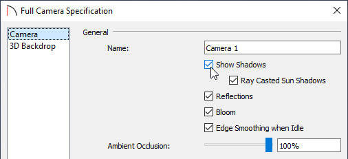 Check or uncheck the Show Shadows box located on the Camera panel of the Specification dialog