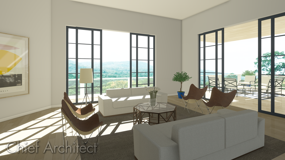 Living room with sliding glass doors leading to a deck