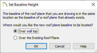 Set Baseline Height dialog box set to Over wall top.