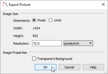 Export Picture dialog where dimensions are shown, and a resolution can be set