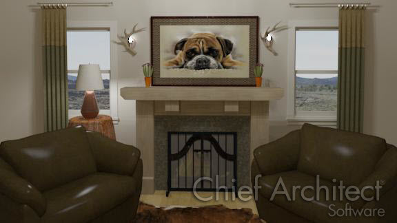 interior living room with fireplace and picture frame with dog