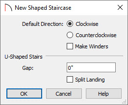 New Shaped Staircase specification dialog for L-shaped stairs