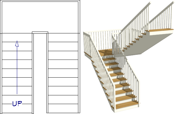 U-shaped staircase created manually