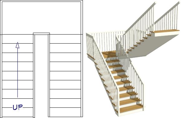U-shaped staircase created manually
