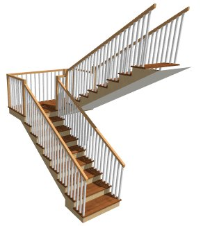 A U Shaped Staircase, With Both Sections Connected In A Landing Is Created.