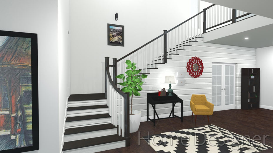 L-shaped stair in foyer