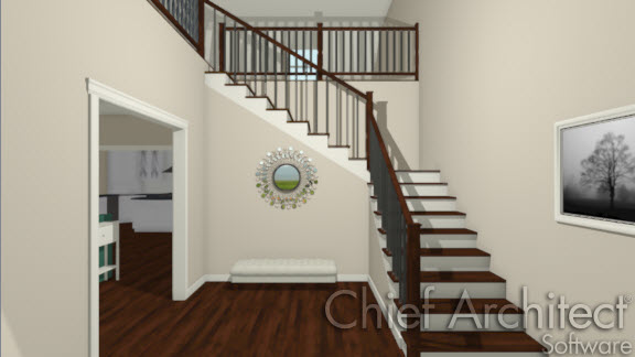L-shaped stairs in foyer