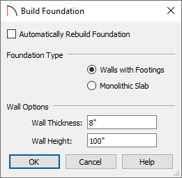 Build Foundation dialog with Automatically Rebuild Foundation unchecked