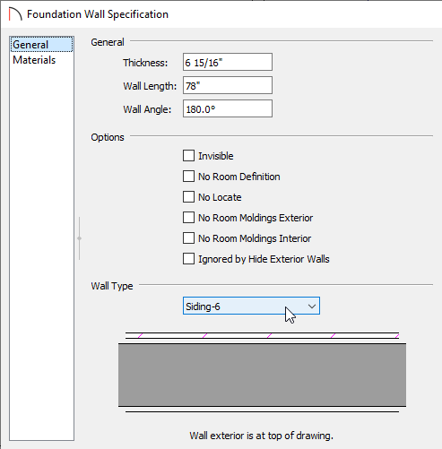 Foundation Wall Specification dialog