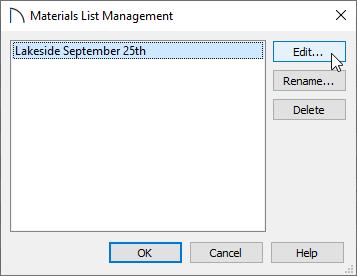 Materials List Management dialog
