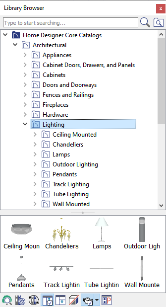 Lighting folder selected in the Library Browser