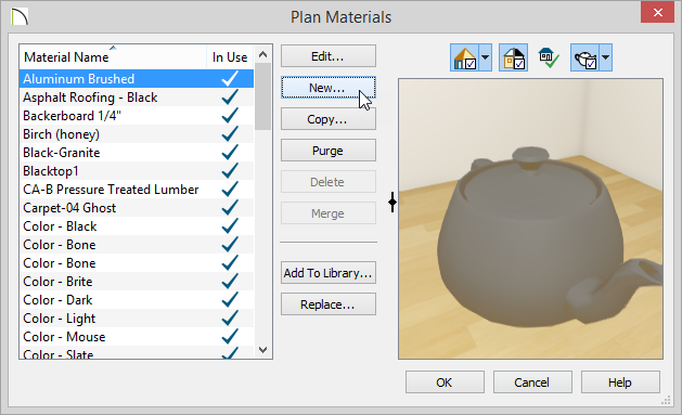 Plan Materials dialog with New button being pressed