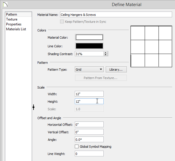 Define Material dialog with 12 inches set for Height and Width