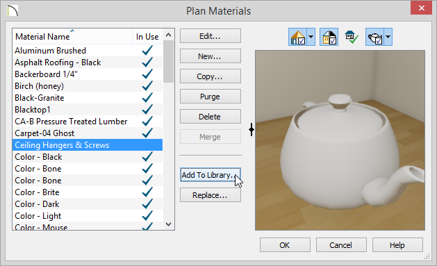 Plan Materials dialog with Ceiling Hangers and Screws highlighted and Add To Library button selected