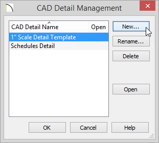 CAD Detail Management dialog with New button selected
