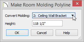 Make Room Molding Polyline dialog with Ceiling Wall Bracket selected and a Height of 118 1/2 inches entered