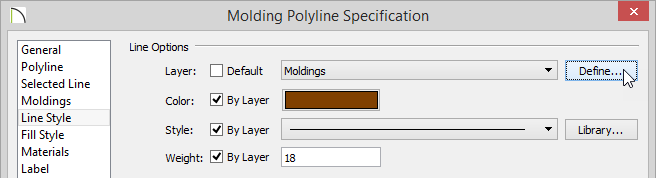 Molding Polyline Specification dialog - Line Style panel - Define button next to Layer is selected