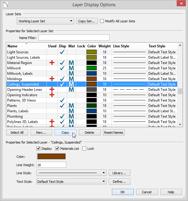 Layer Display Options dialog with the Copy button selected and Ceilings, Suspended layer name selected