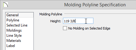 Molding Polyline Specification dialog with 119 3/8 inches entered for the Height