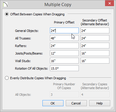 Multiple Copy dialog showing 24 inches for General Objects Primary Offset