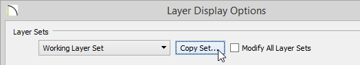 Layer Display Options dialog showing Copy Set button selected