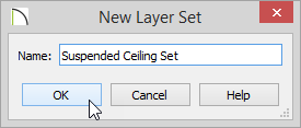 Suspended Ceiling Set entered for Name of New Layer Set