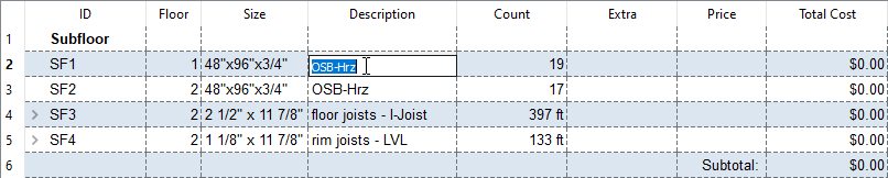 Editing a cell in a materials list