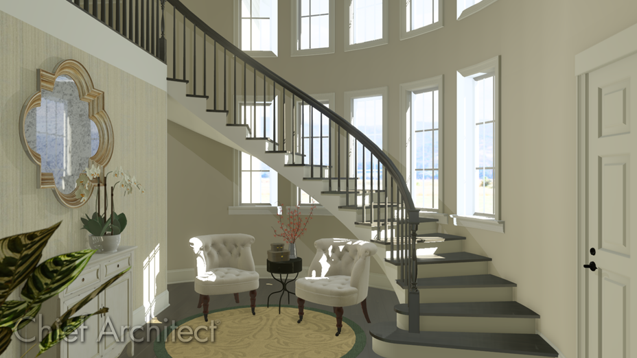 Curved staircase leading to the next level