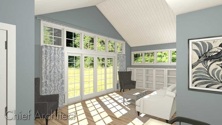 Living room with different materials for the ceiling, floor, and walls