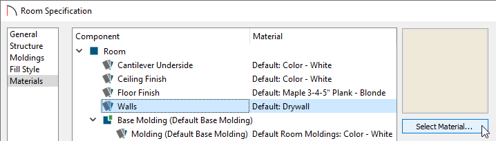 Select Material for a Component of a Room