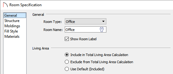 General panel of the Room Specification dialog where the Living Area can be changed