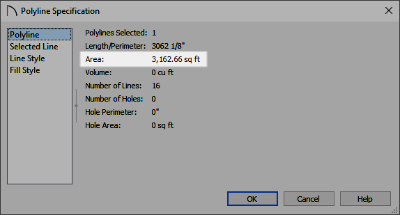 Polyline panel of the Polyline Specification dialog where the Area is listed