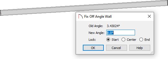 Fix Off Angle Wall dialog