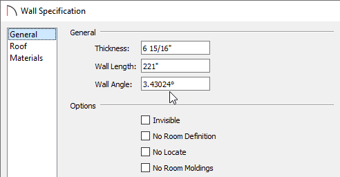 General panel of the Wall Specification dialog