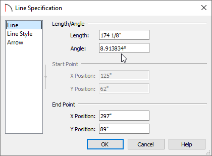 Line panel of the Line Specification dialog