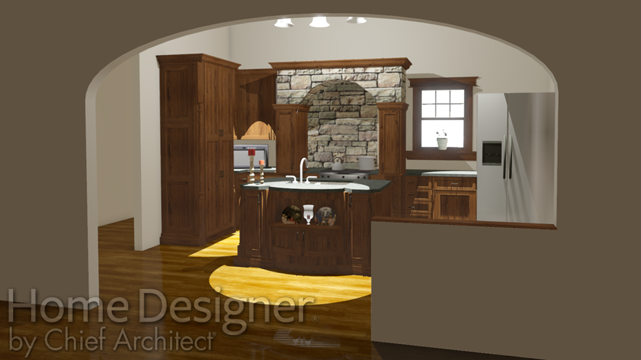 Half-wall placed in a doorway between the kitchen and dining