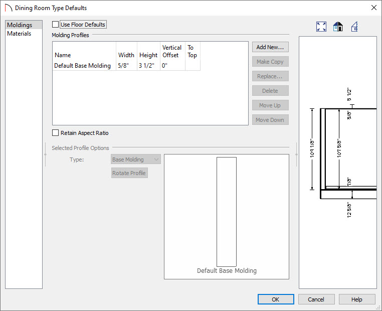 Room type defaults molding panel