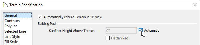 Change the Building Pad settings on the General panel of the Terrain Specification dialog
