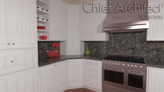 Interior view of corner base and wall cabinets