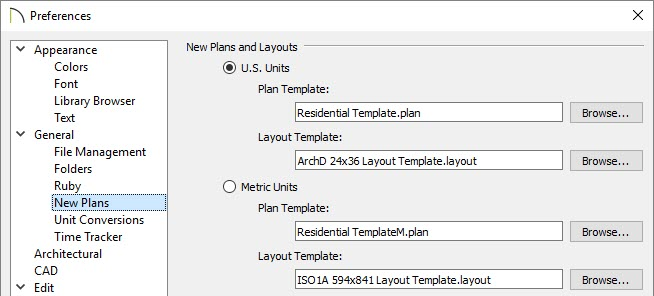 Select the New Plans panel of the Preferences dialog to specify the plana nd layout template