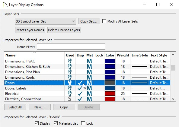 Check the layers you'd like to be displayed in the Layer Display Options dialog