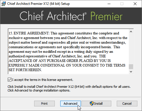 Click the Advanced button in the Setup wizard after accepting the terms of the license agreement