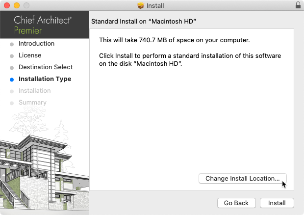 Select the Change Install Location button in the Install wizard