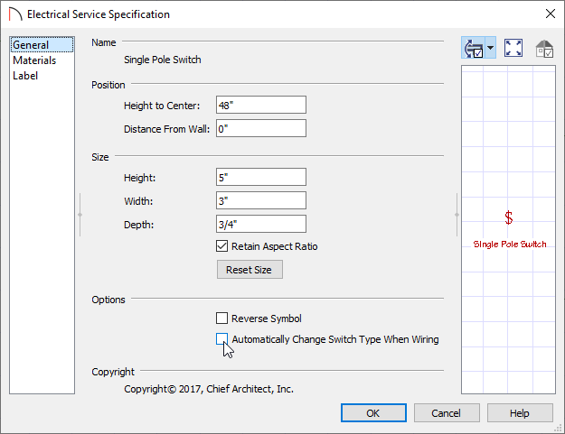 General panel of the Electrical Service Specification dialog