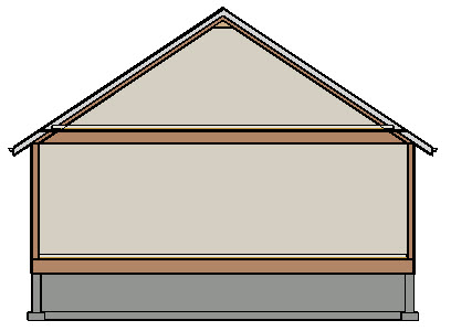 Section view displaying a roof resting on the first floor walls